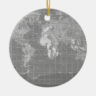 Mapa del mundo gris minimalista del vintage adorno navideño redondo de cerámica