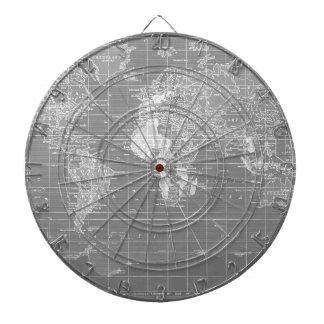 Mapa del mundo gris minimalista del vintage