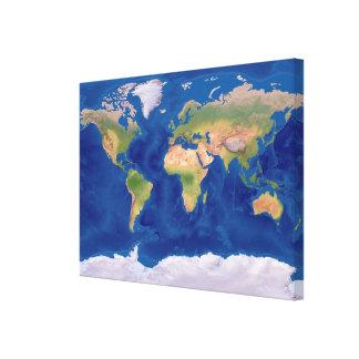 Mapa del mundo hermoso en lona lona envuelta para galerias