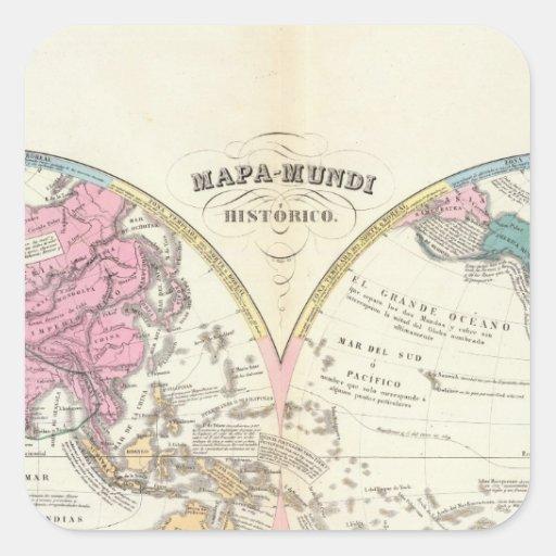 Mapa del mundo histórico 3 pegatina cuadrada