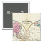 Mapa del mundo histórico 3 pin cuadrada 5 cm