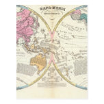 Mapa del mundo histórico 3 postal