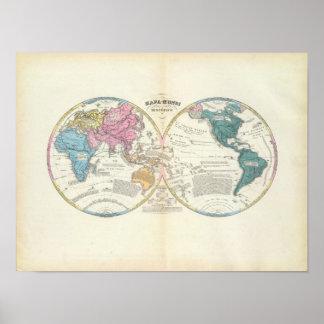 Mapa del mundo histórico 3 póster