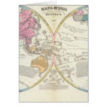 Mapa del mundo histórico 3 tarjeta de felicitación