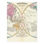 Mapa del mundo histórico 3 tarjetas postales