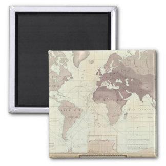 Mapa del mundo histórico imán cuadrado