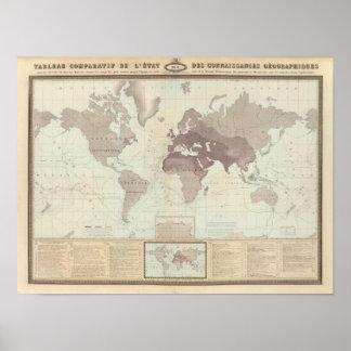 Mapa del mundo histórico impresiones