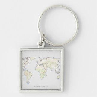 Mapa del mundo ilustrado 2 llavero cuadrado plateado