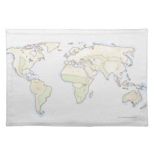 Mapa del mundo ilustrado 2 manteles