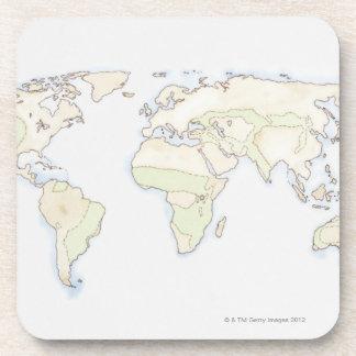 Mapa del mundo ilustrado 2 posavaso