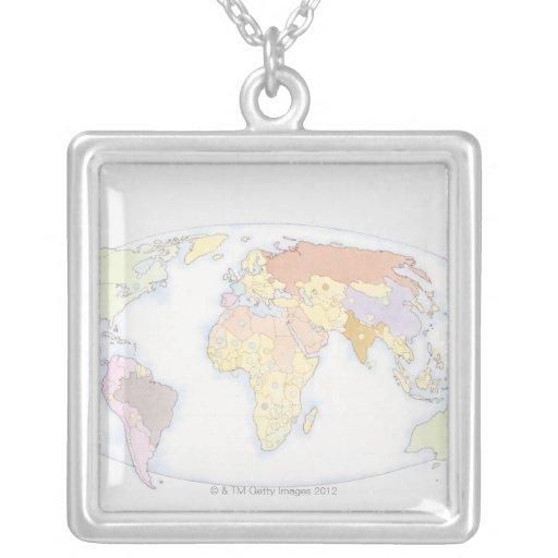 Mapa del mundo ilustrado 3 colgantes