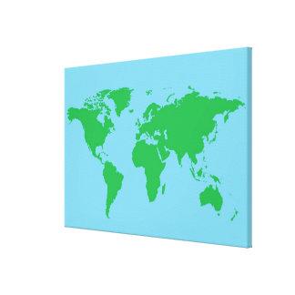Mapa del mundo ilustrado 3 lona envuelta para galerías
