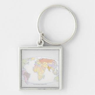 Mapa del mundo ilustrado 3 llavero cuadrado plateado