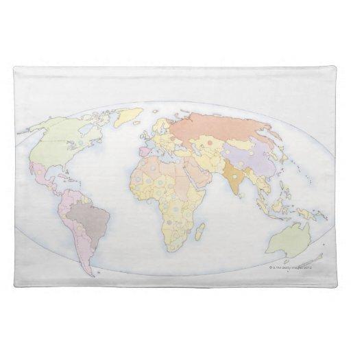 Mapa del mundo ilustrado 3 manteles