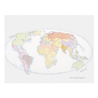 Mapa del mundo ilustrado 3 tarjeta postal