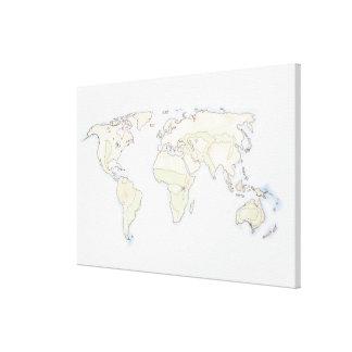 Mapa del mundo ilustrado lona estirada galerías