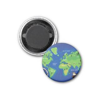Mapa del mundo imán redondo 3 cm