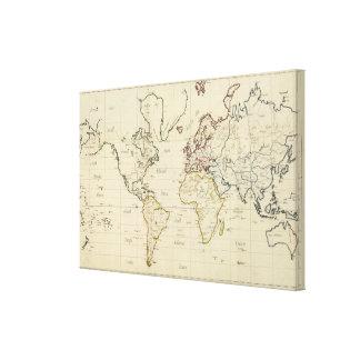 Mapa del mundo impresión en lienzo