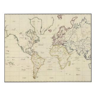 Mapa del mundo impresión en madera