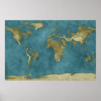 Mapa del mundo inundado póster