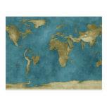 Mapa del mundo inundado tarjetas postales