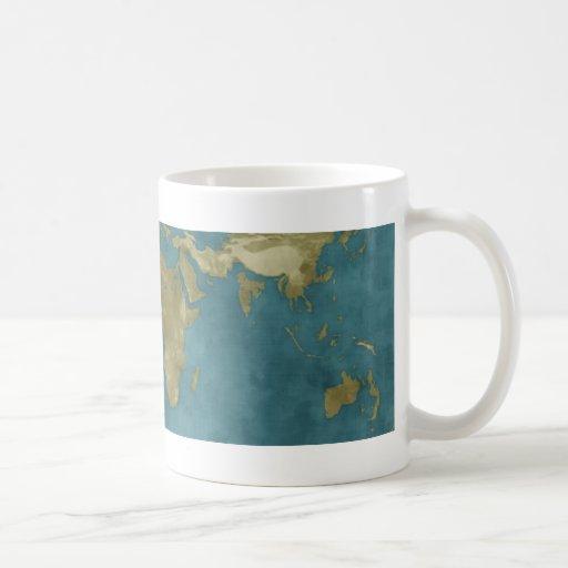 Mapa del mundo inundado taza