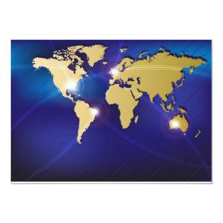 Mapa del mundo invitación 12,7 x 17,8 cm