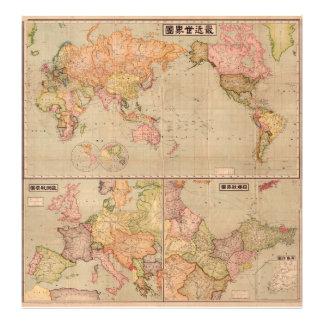 Mapa del mundo japonés antiguo 1914. fotografia