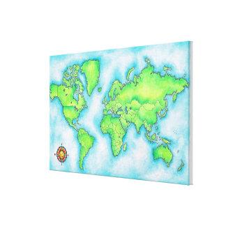 Mapa del mundo impresión en lona