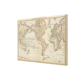 Mapa del mundo lona estirada galerias