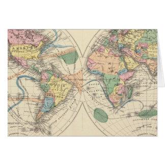 Mapa del mundo litografiado tarjetas