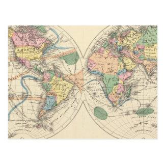 Mapa del mundo litografiado postal