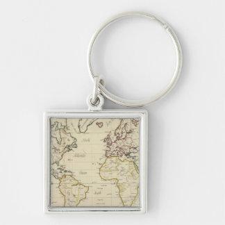 Mapa del mundo llavero cuadrado plateado