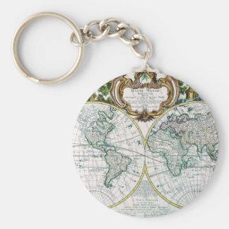 Mapa del mundo llavero redondo tipo pin