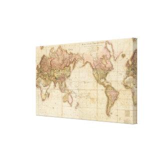 Mapa del mundo lona envuelta para galerías