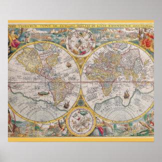 Mapa del mundo medieval a partir de 1525 póster