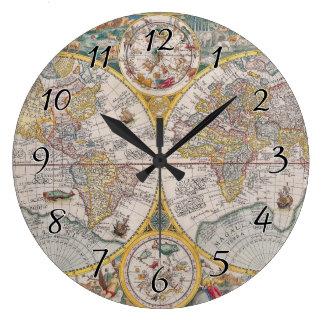 Mapa del mundo medieval a partir de 1525 reloj redondo grande