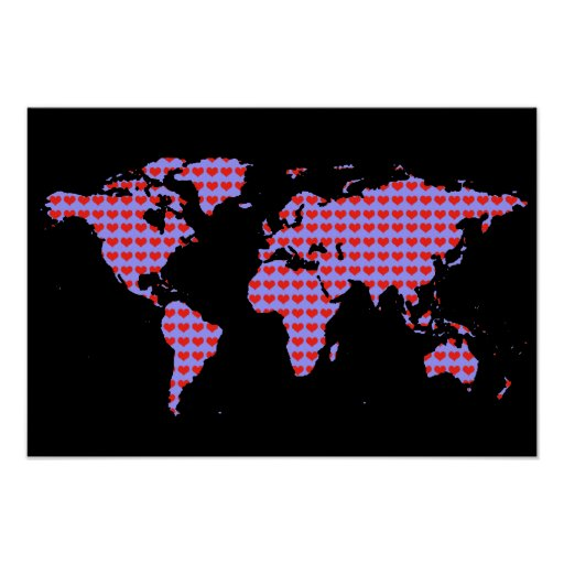 mapa del mundo - modelo del amor póster
