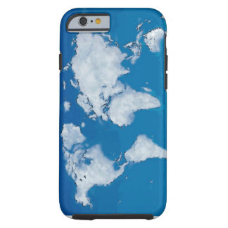Mapa del mundo mullido de las nubes funda de iPhone 6 tough