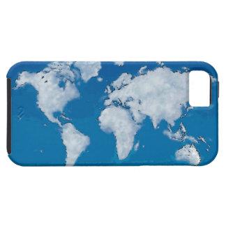 Mapa del mundo mullido de las nubes iPhone 5 funda