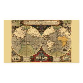 Mapa del mundo náutico antiguo tarjetas de visita