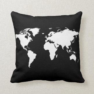 mapa del mundo negro/blanco personalizado cojín decorativo