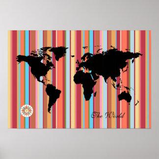 mapa del mundo negro + color-rayas póster
