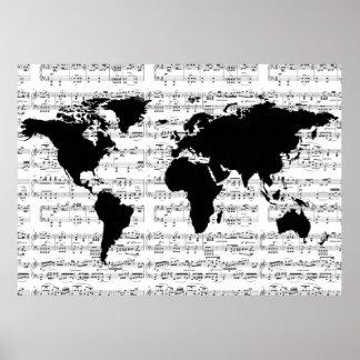mapa del mundo negro con las notas musicales