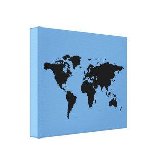 mapa del mundo negro en azul impresión en lienzo