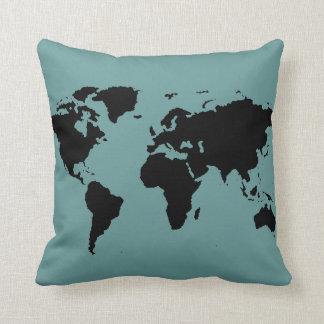 mapa del mundo negro estilizado almohada