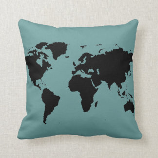 mapa del mundo negro estilizado cojín decorativo