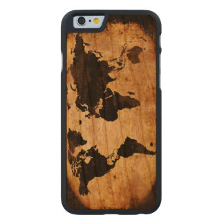 mapa del mundo negro funda de iPhone 6 carved® slim de cerezo