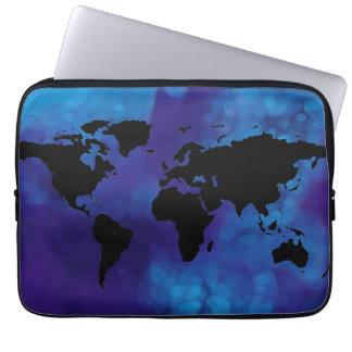 mapa del mundo negro. mar azul funda computadora
