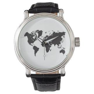 mapa del mundo negro relojes de pulsera